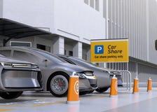 Flotte autonome Fahrzeuge im Parkplatz für das Teilen lizenzfreie abbildung