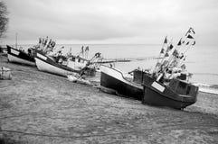 Flotte de petits bateaux photo stock