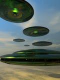 Flotte de soucoupe en vol Image libre de droits