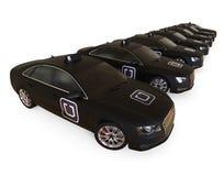 Flotte de taxi d'Uber dans une rangée illustration stock