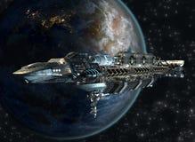 Flotte de vaisseau spatial laissant la terre Photographie stock