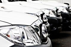 Flotte weiße Autos und LKWas Stockfoto
