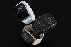 Flottement de 3 d'Apple de la montre 4 smartwatches de style illustration libre de droits