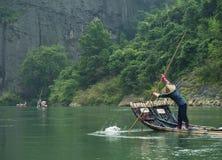 Flottement en bambou de radeaux Photos stock