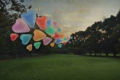 Flotteur coloré de ballon d'amour de coeur sur l'air au parc Images libres de droits