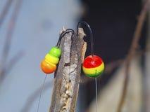 Flotteur deux coloré avec le crochet pour pêcher le plan rapproché Photos libres de droits
