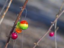 Flotteurs avec des crochets pour pêcher le plan rapproché Image libre de droits