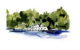 Flotteurs de bateau en bas de la rivière Illustration tir?e par la main d'aquarelle photographie stock
