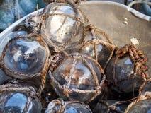 Flotteurs en verre de pêche Photo stock