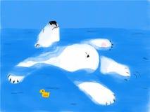 Flotteurs fatigués d'ours sur l'eau images stock