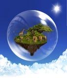 Flottörhus ö med djur i bubbla   Royaltyfri Fotografi