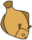 Flounder. Drawing flounder. Sea Fish. Brown mood royalty free illustration