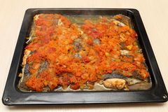 Flounder baked with vegetables Royalty Free Stock Photo