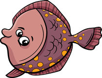 Flounder fish cartoon illustration Stock Photos