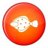 Flounder fish icon, flat style Stock Photo