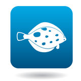 Flounder fish icon, simple style. Flounder fish icon in simple style in blue square. Animals symbol Stock Photo