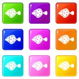Flounder fish icons 9 set. Flounder fish icons of 9 color set isolated vector illustration Stock Images