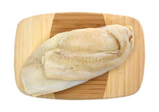 Flounder Raw On Cutting Board Top View Stock Photography