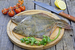 Flounder raw fish on cutting board. In kitchen Stock Image