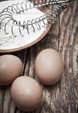 Flour And Eggs On Wooden Background Royalty Free Stock Image