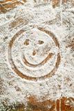 Flour a arte -final com alimento e smiley de Handprints Fotos de Stock Royalty Free
