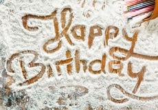 Flour a arte -final com aniversário de Handprints Imagem de Stock Royalty Free