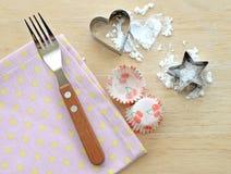 Flour avec la forme d'étoile et de coeur, nappe de fourchette Photo libre de droits