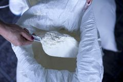 Flour baker in kitchen close up on female hand royalty free stock photos