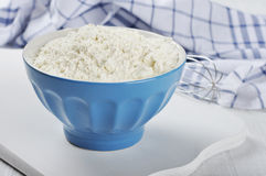 Flour in blue pot Royalty Free Stock Images