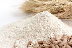 Flour with bran a close-up, ears of wheat Royalty Free Stock Image