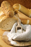 Flour and bread shapes Stock Photos