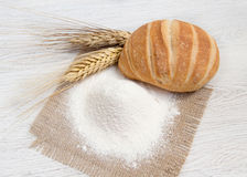 Flour, bread and wheat. Flour, bread  and wheat background Royalty Free Stock Photography