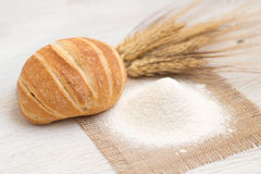 Flour, bread and wheat. Flour, bread  and wheat background Stock Images