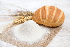 Flour, bread and wheat. Flour, bread  and wheat background Royalty Free Stock Photo