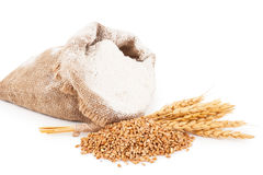 Flour in burlap bag with wheat ears Royalty Free Stock Photography