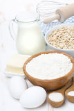 Flour, butter, cereal and ingredients for baking Royalty Free Stock Images