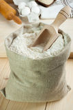 Flour in canvas bag Stock Photos