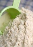 Flour - cornflour. White flour with strainer - main ingredient for bakery Stock Photo