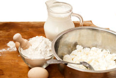 Flour, cottage cheese, milk. eggs Royalty Free Stock Photo