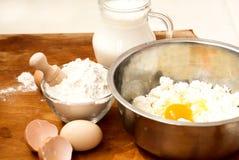 Flour, cottage cheese, milk. eggs Royalty Free Stock Photos