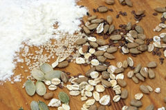 Flour with crops and seeds Stock Photo