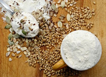 Flour, crops and seeds Royalty Free Stock Photo