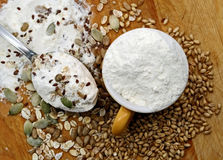 Flour, crops and seeds Royalty Free Stock Image
