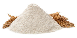 Flour and ears isolated on white background royalty free stock photos