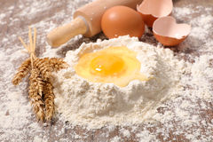 Flour and egg. Close up on flour and egg royalty free stock image