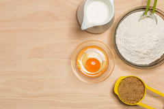 Flour, egg, milk and sugar Royalty Free Stock Photo