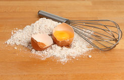 Flour egg and whisk Royalty Free Stock Photo