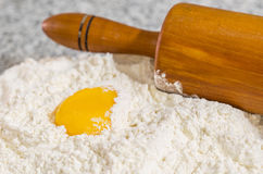 Flour, Egg Yolk and Rolling Pin IV Royalty Free Stock Image