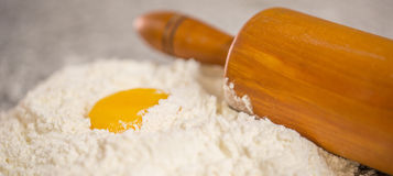 Flour, Egg Yolk and Rolling Pin VI Royalty Free Stock Photos