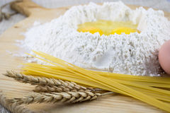 Flour with eggs Royalty Free Stock Photography